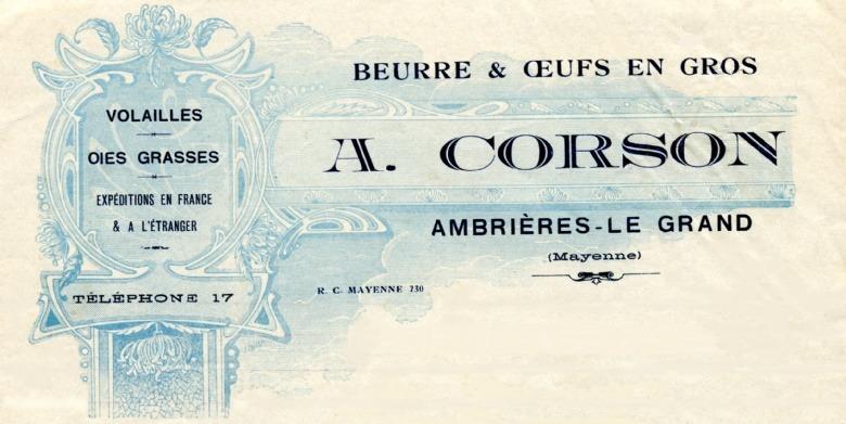 Alexis Corson, marchand de Beurre et Œufs à Ambrieres le Grand