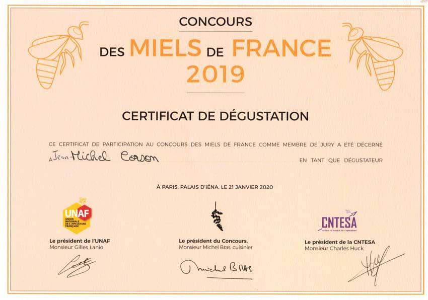 Certificat de dégustation des meilleurs miels de France